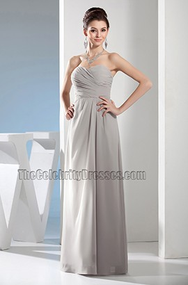 Simple Strapless Sweetheart Chiffon Bridesmaid Prom Dresses