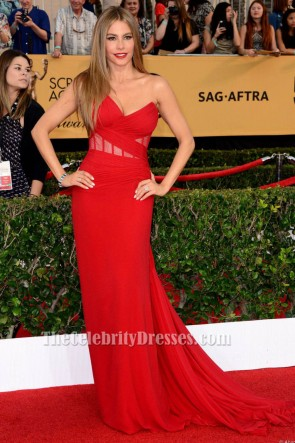 Sofia Vergara Red One Shoulder Formal Dress SAG Awards 2015 Red Carpet TCD6124