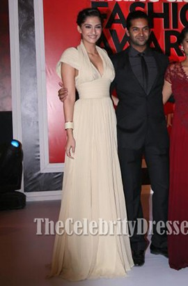 Sonam Kapoor Champagne Prom Dress Marie Claire Fashion Awards 2011