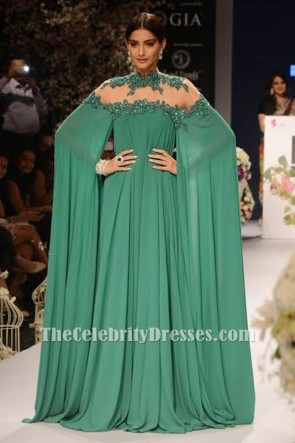 Sonam Kapoor Sexy Green Backless Embroidered Evening Dress Prom Gown TCD6475