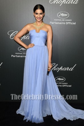 Sonam Kapoor Lavender Prom Dress Chopard backstage party