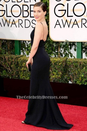 Sophia Bush Black Evening Dress 2016 Golden Globe Awards Red Carpet Celebrity Gowns TCD6535
