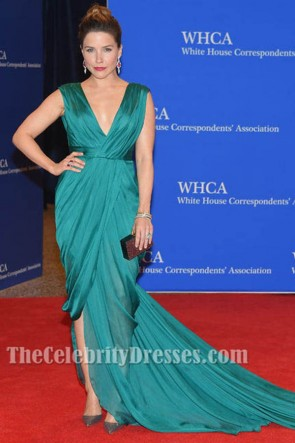 Sophia Bush V-Neck Evening Dress White house correspondents dinner 2015 TCD6176