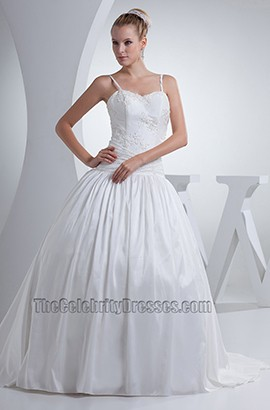Spaghetti Straps A-Line Embroidery Wedding Dress With Beading