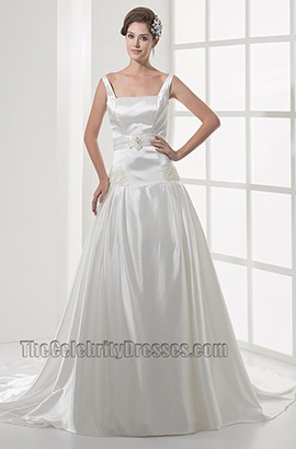 Square Neckline Silk Like Satin A-Line Wedding Dress