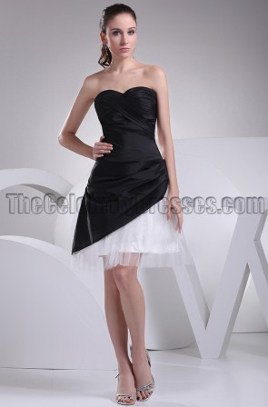 Short Strapless Black And White Homecoming Party Dresses