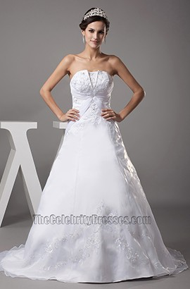 Strapless A-Line Chapel Train Embroidery Wedding Dress