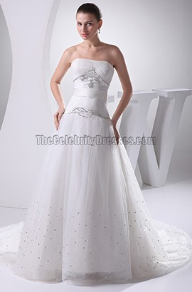 Strapless A-Line Chapel Train Wedding Dresses