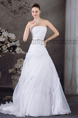 Strapless A-Line Organza Beaded Chapel Train Wedding Dress