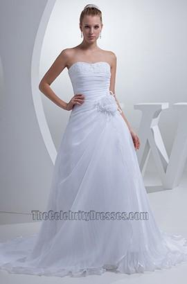 Discount Strapless A-Line Sweetheart Chiffon Wedding Dresses