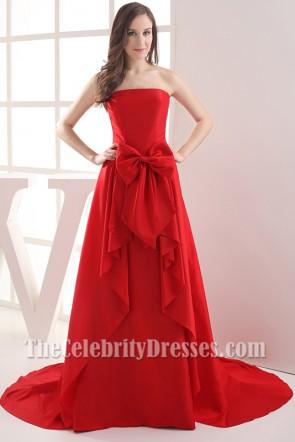 Long Strapless Red Taffeta Bridesmaid Prom Dresses