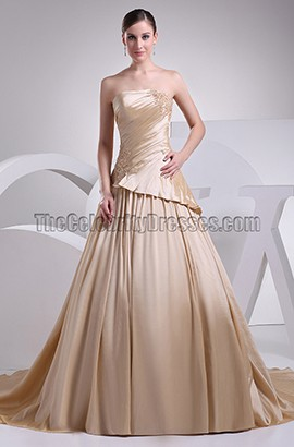 Strapless A-Line Taffeta Chapel Train Wedding Dresses