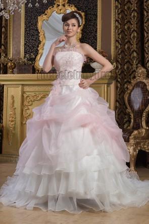Strapless Ball Gown Beaded Organza Chapel Train Wedding Dresses