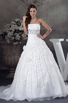 Strapless Chapel Train Ruffles Ball Gown Wedding Dress
