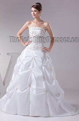 Strapless Embroidered A-Line Beaded Chapel Train Wedding Dress