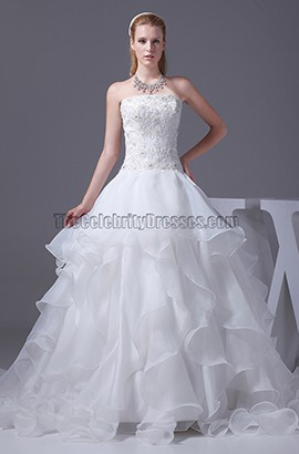 Strapless Embroidery A-Line Organza Wedding Dresses