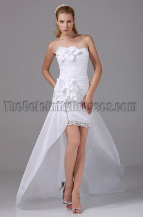 Gorgeous Strapless High Low Taffeta Wedding Dresses