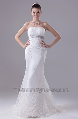 Strapless Sheath Column Sweep Brush Train Wedding Dress