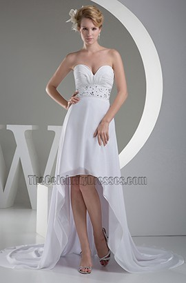 Strapless Sweetheart A-Line Chiffon Hi-Low Wedding Dress