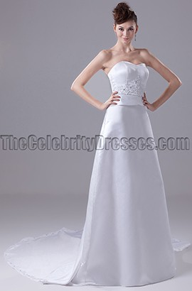 Strapless Sweetheart A-Line Satin Wedding Dresses