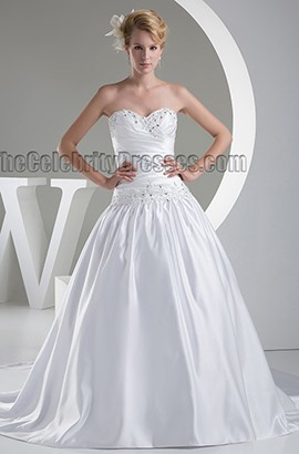 Strapless Sweetheart Beaded Satin Ball Gown Wedding Dress