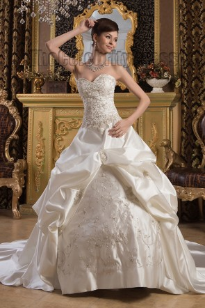 Strapless Sweetheart Embroidered A-Line Chapel Train Wedding Dress