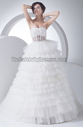 Stunning Strapless Sweetheart Tulle Chapel Train Wedding Dress