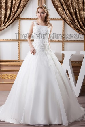 Stunning A-Line Beaded Lace Up Wedding Dress Bridal Gown