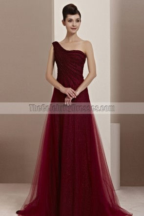 Stunning Burgundy One Shoulder A-Line Formal Dress Prom Gown