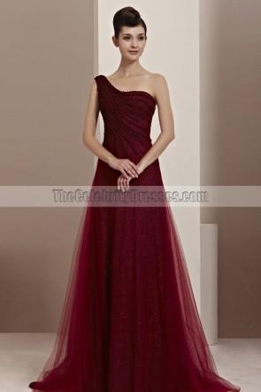 Stunning Burgundy One Shoulder A-Line Formal Dress Prom Gown