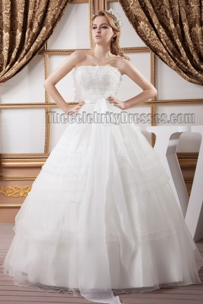 Stunning Floor Length Strapless Organza Ball Gown Wedding Dresses