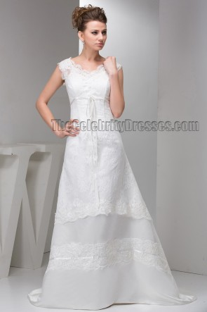 Sweep/Brush Train V-neck Lace A-Line Wedding Dresses