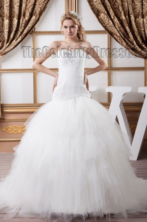 Sweetheart Strapless Beaded Tulle Lace Up Wedding Dresses