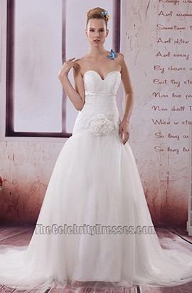 Sweetheart Strapless Taffeta Organza A-Line Wedding Dress