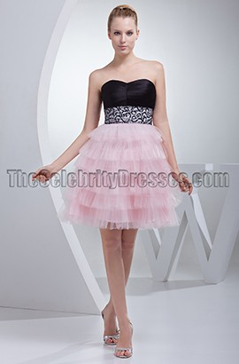 Sweetheart Tulle Black And Pink Party Homecoming Dresses