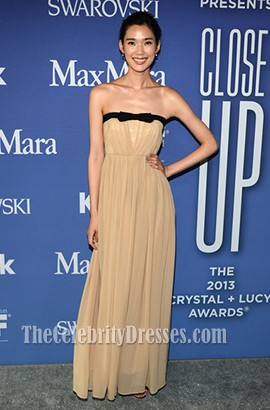 Tao Okamoto Champagne Strapless Prom Dress 2013 Crystal Lucy Awards