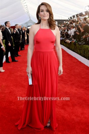 Tina Fey 2016 SAG awards Red Evening Formal Dress TCD6567