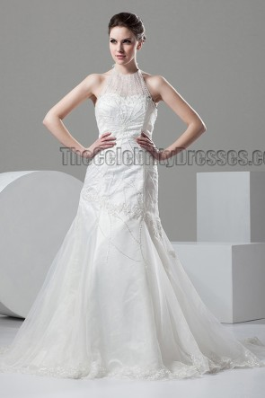 Trumpet/Mermaid Halter Beaded Wedding Dresses Gowns