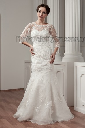 Trumpet/Mermaid Lace Beaded Sweep/Brush Train Wedding Dress
