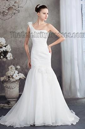 Trumpet /Mermaid One Shoulder Chapel Train Wedding Dress