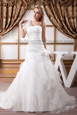 Trumpet/Mermaid One Shoulder Organza Wedding Dresses