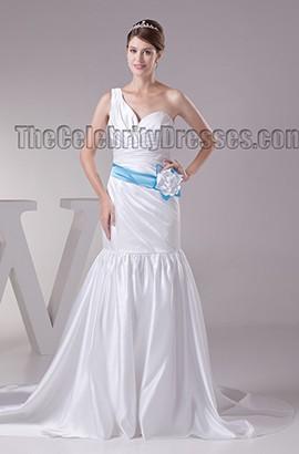 Trumpet /Mermaid One Shoulder Silk Like Satin Chapel Train Wedding Dress