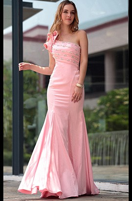 Trumpet/Mermaid Pink One Shoulder Formal Dresses Evening Gowns