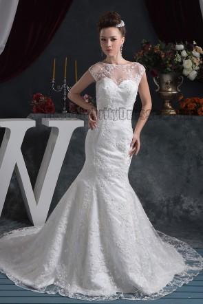 Trumpet/Mermaid Sleeveless Lace Chapel Train Wedding Dress