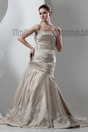 Trumpet/Mermaid Strapless Champagne Formal Wedding Dresses