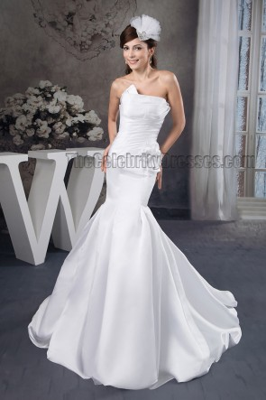 Trumpet /Mermaid Strapless Chapel Train Wedding Dress