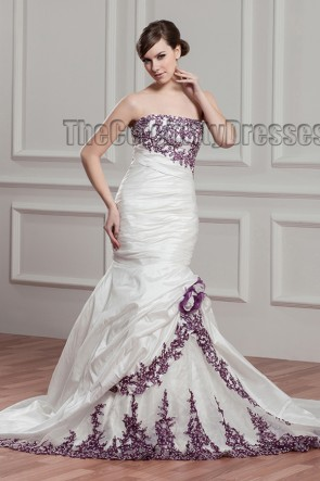 Trumpet/Mermaid Strapless Embroidered Chapel Train Wedding Dress