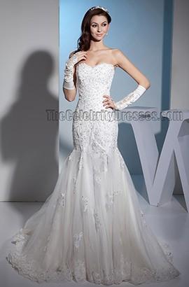 Trumpet/Mermaid Strapless Lace Beaded Sweetheart Wedding Dress