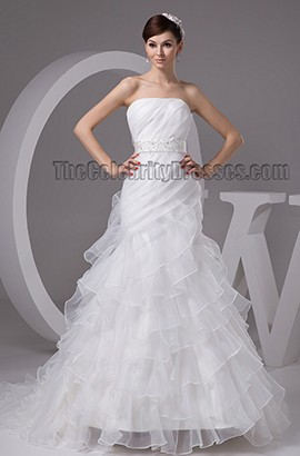 Trumpet/Mermaid Strapless Organza Chapel Train Wedding Dresses