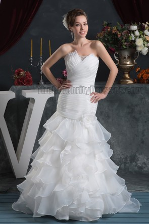 Trumpet/Mermaid Strapless Ruffles Lace Up Wedding Dresses